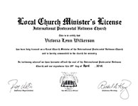 Local Church Minister's License